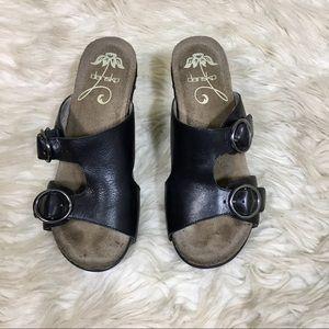 Dansko Brown Leather peep toe wedges